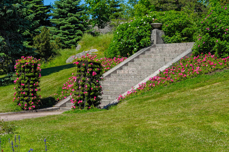 Vertical flowerbed in Hanko city park. Finland royalty free stock image