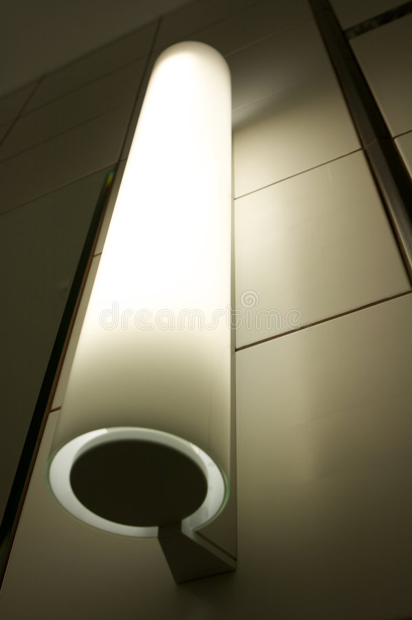 Vertical fluorescent lamp stock image
