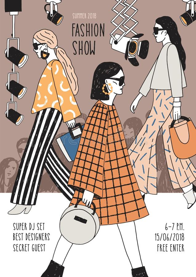 Vertical flyer or poster template for fashion show with top models wearing fashionable apparel walking along runway or. Doing catwalk. Hand drawn vector royalty free illustration
