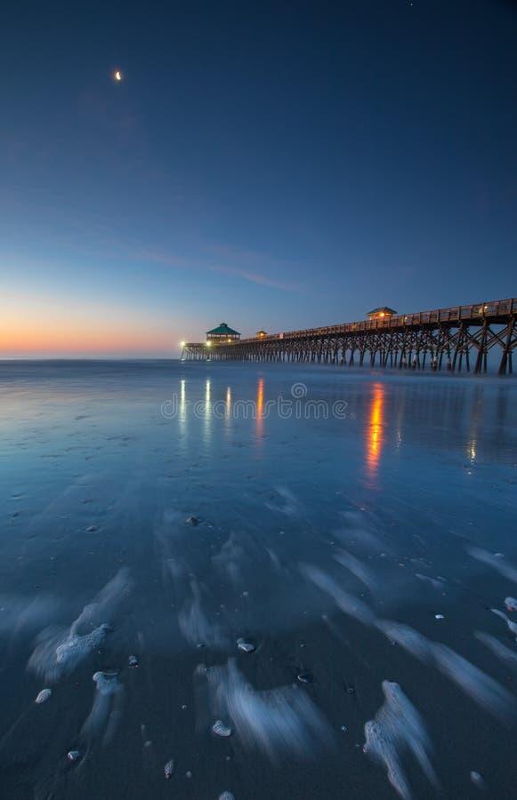 Vertical Folly Beach Fishing Pier Blue Hour stock photo