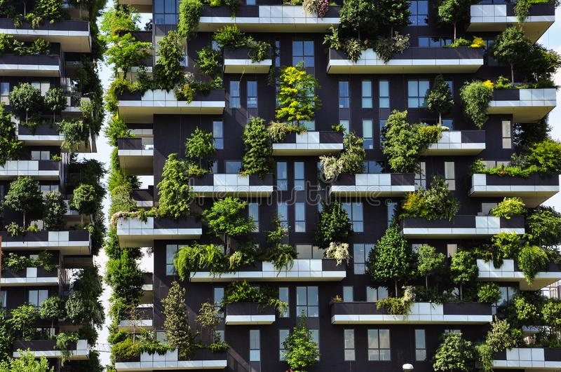 Vertical forest. Contemporary architecture in Milan, Italy. New urban development in Milan, Italy. The vertical forest: trees and plants growing on balconies of