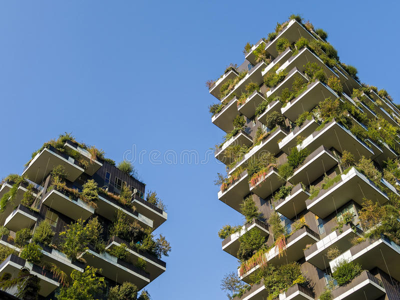 Vertical Forest Towers - Sustainable Green Architecture. Vertical forest residential towers - sustainable green housing. Designed by Stefano Boeri. Porta Nuova stock photo