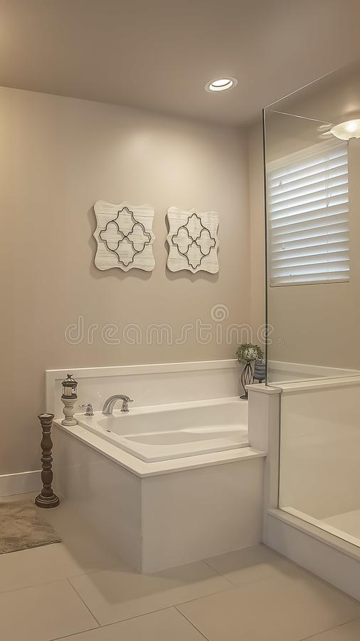 Vertical frame Bathroom interior with a shower stall beside the built in bathtub. Mirror and sink above a brown wooden cabinet can be seen in the foreground royalty free stock photos