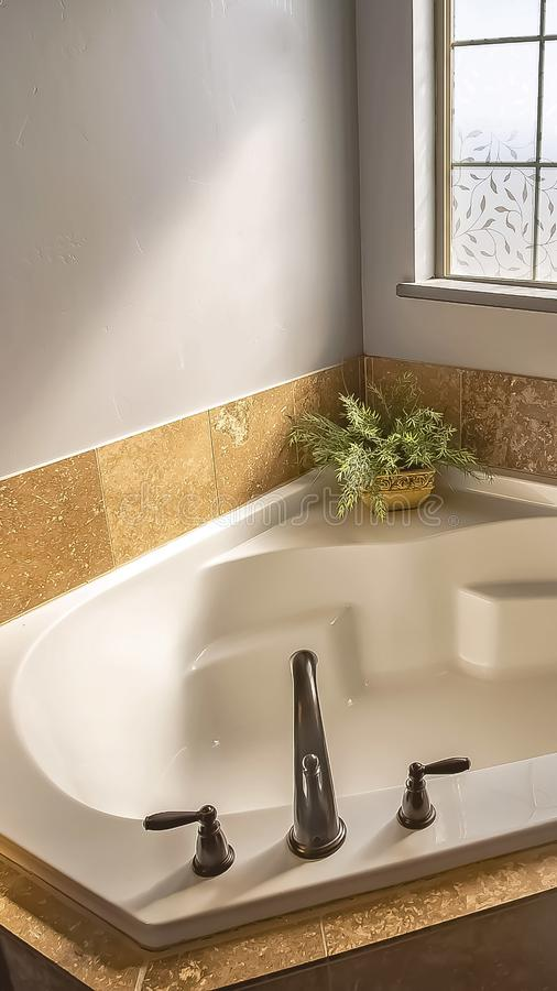 Vertical frame Built in bathtub at the corner of a sunlit bathroom with frosted glass window. The tub is between two vanity units with wooden cabinets and stock image