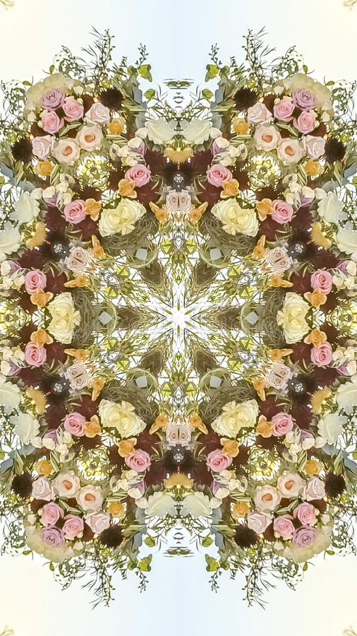 Vertical frame Circular geometric flower design with floral colors at a wedding. Geometric kaleidoscope pattern on mirrored axis of symmetry reflection vector illustration