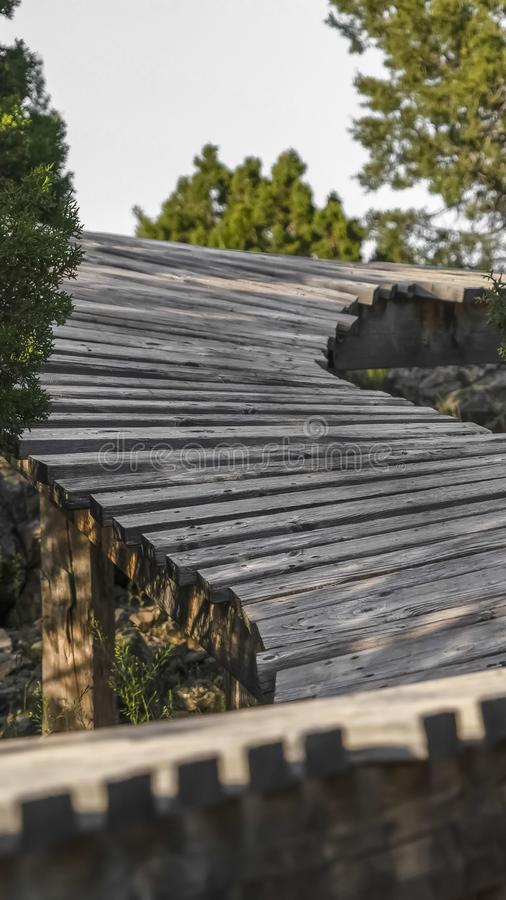Vertical frame Close up of a curvy wooden bridge in the forest viewed on a sunny day. Trees with lush green leaves grows around the rustic bridge royalty free stock images