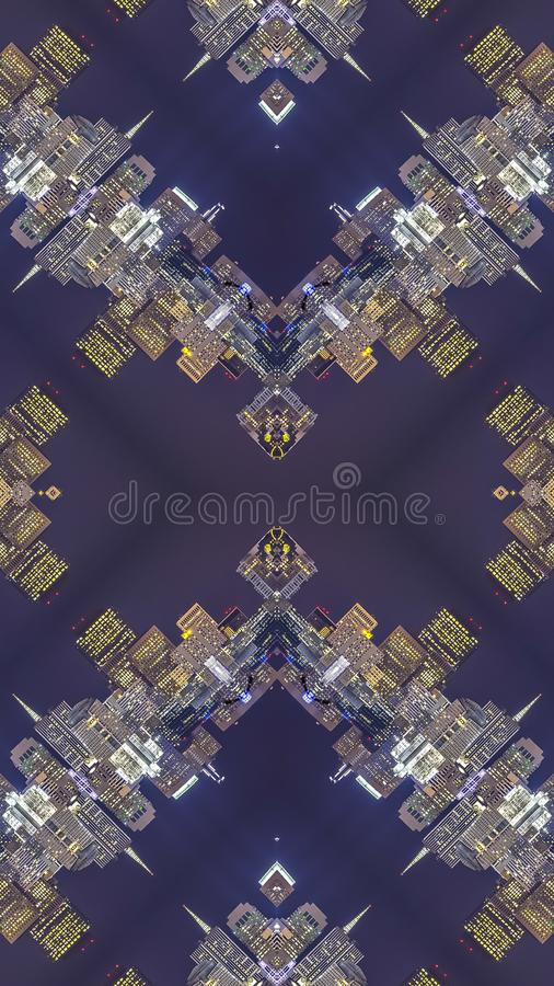 Vertical frame Complex design made from the San Francisco skyline. Geometric kaleidoscope pattern on mirrored axis of symmetry reflection. Colorful shapes as a vector illustration