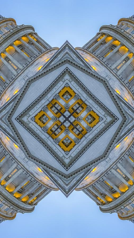 Vertical frame Facade of the capital building made into square. Geometric kaleidoscope pattern on mirrored axis of symmetry reflection. Colorful shapes as a stock illustration