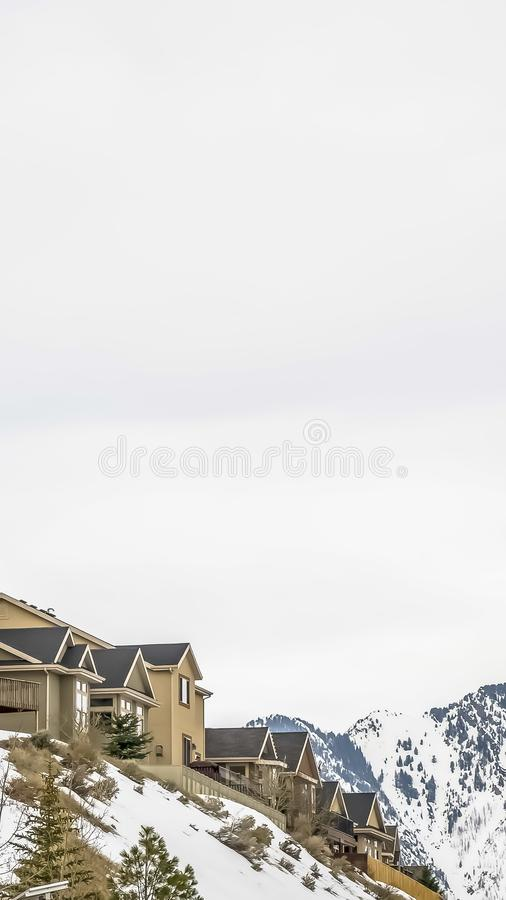 Vertical frame Residential area on a snowy hill with conifers and leafless trees in winter. A scenic view of majestic mountain and bright cloudy sky can be stock photos