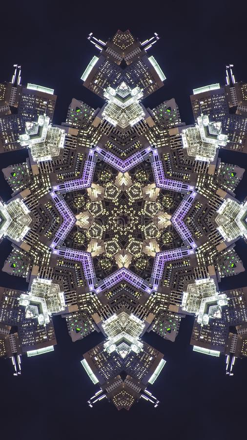 Vertical frame San Francisco city at night turned into a fractal. Geometric kaleidoscope pattern on mirrored axis of symmetry reflection. Colorful shapes as a stock illustration