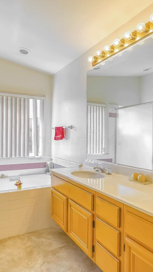 Vertical frame Shower stall built in bathtub and vanity with double sink inside a bathroom. The room is well lighted by light bulbs above the mirror and royalty free stock image