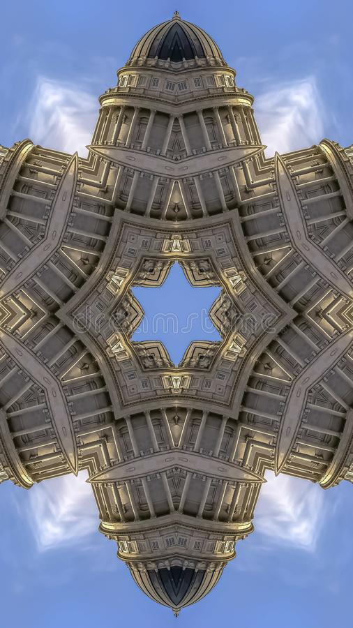 Vertical frame Star made from the capital building dome. Geometric kaleidoscope pattern on mirrored axis of symmetry reflection. Colorful shapes as a wallpaper stock photography