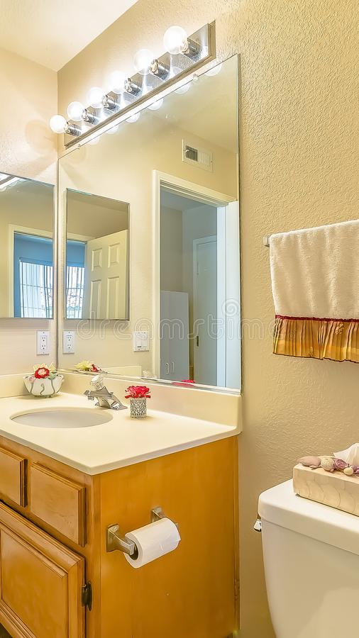 Vertical frame Vanity area and toilet inside the bathroom of a home with brown floor stock image