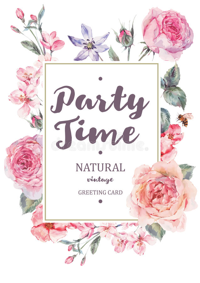 Vertical frame vector card with pink blooming english roses stock illustration