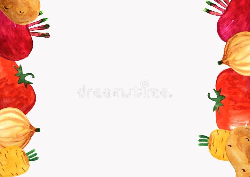 Vertical frame of vegetables on a white background. vector illustration