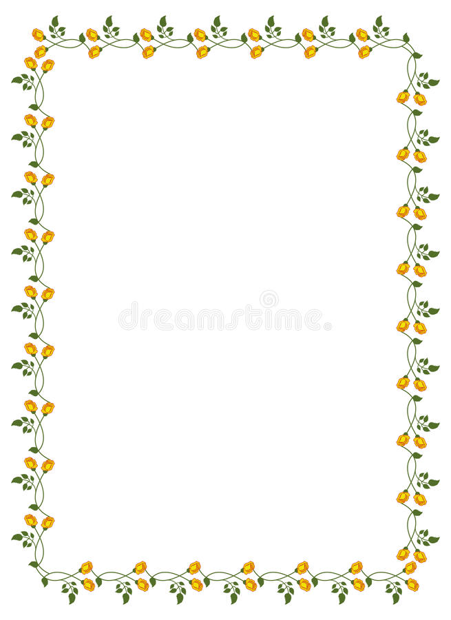 Vertical frame with yellow roses. royalty free illustration