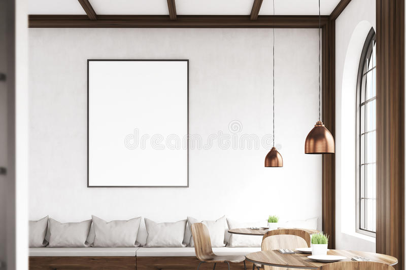 Vertical framed poster on a cafe wall, gray stock illustration