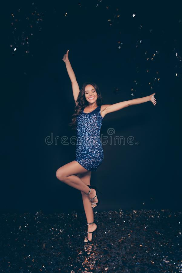 Vertical full length body size of diva nice cheerful glad positi. Ve crazy graceful adorable charming attractive wavy-haired lady on high heels stilettos shoes royalty free stock photo
