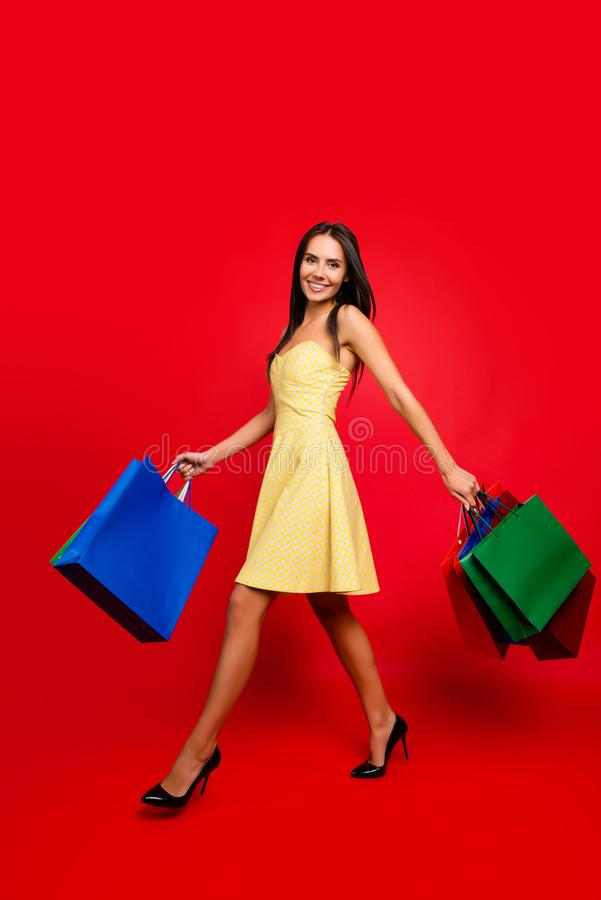 Vertical full-length full-size portrait of dreamy joyful careless free gorgeous beautiful woman carrying many colorful bags go sh royalty free stock photo