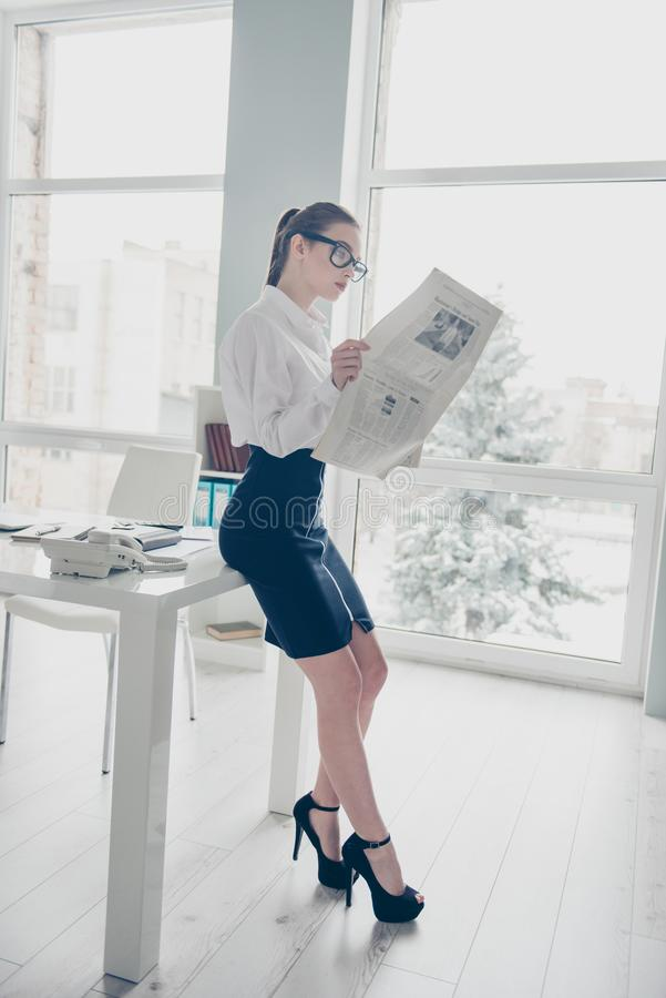 Vertical full length side profile body size photo she business lady eyewear eyeglasses hands arms fresh press reader. Article partnership company wear specs royalty free stock images