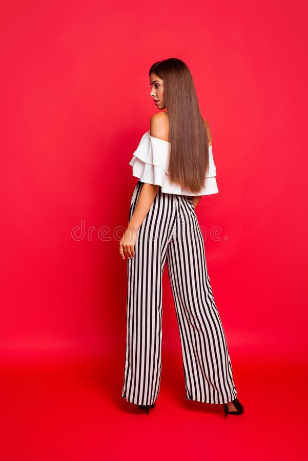 Vertical full size body length profile side rear back view portr royalty free stock photography