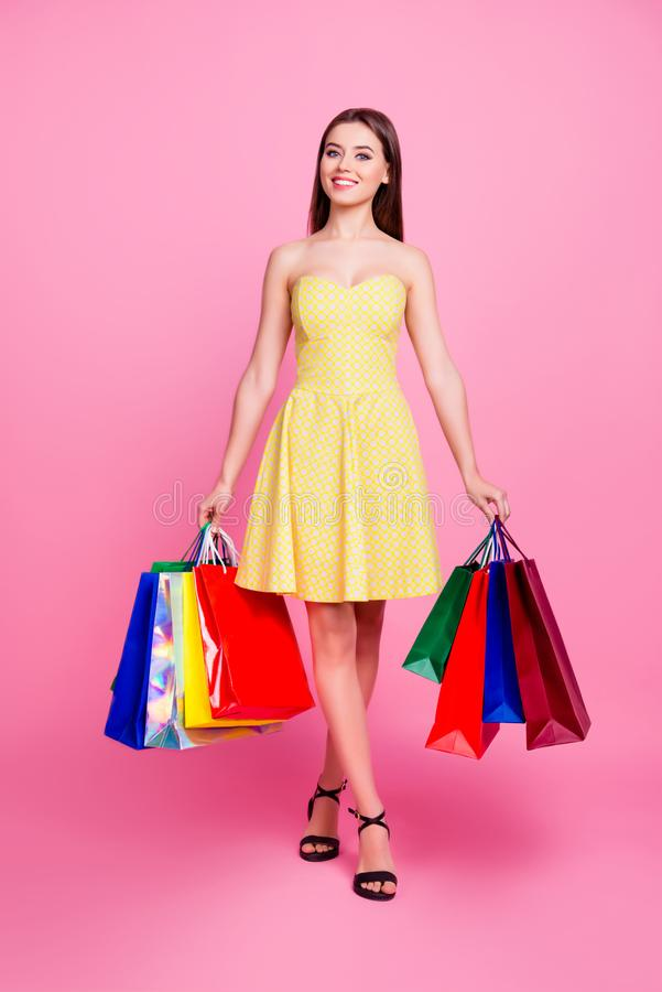 Vertical full-size full-length portrait of charming beautiful cu royalty free stock photography