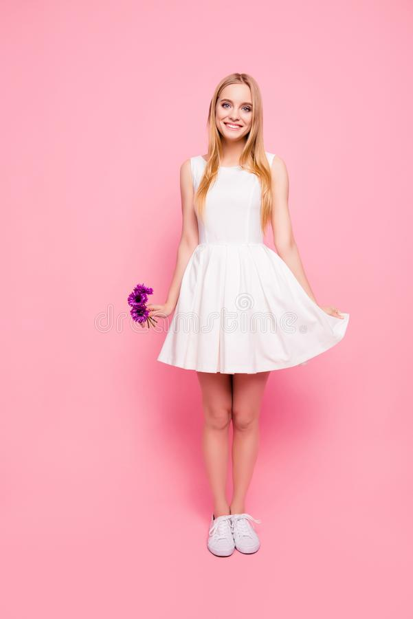 Vertical full-size full-length portrait of charming sweet cute t stock image