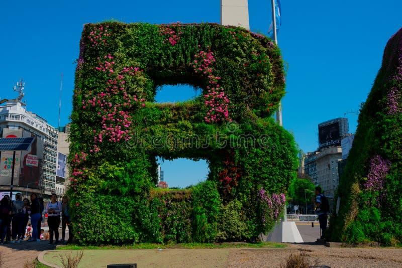 Vertical garden, BA characters at Republic Square Plaza de la Republica royalty free stock photo