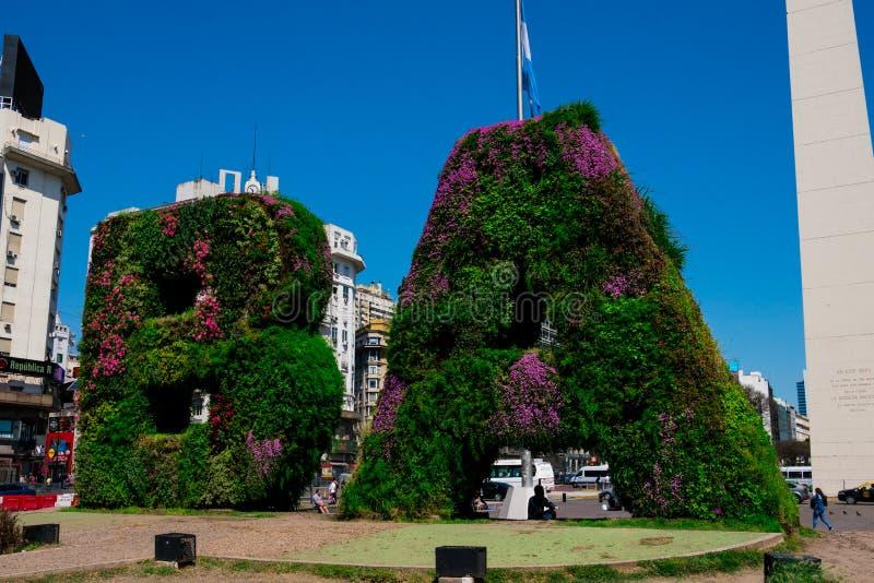Vertical garden, BA characters at Republic Square Plaza de la Republica stock photography