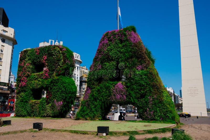 Vertical garden, BA characters at Republic Square Plaza de la Republica royalty free stock image