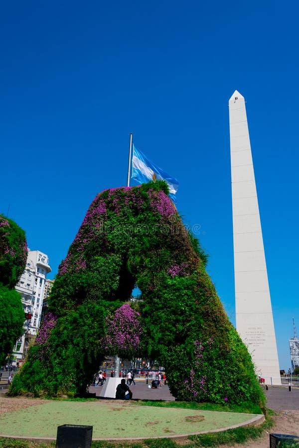 Vertical garden, BA characters at Republic Square Plaza de la Republica stock photos