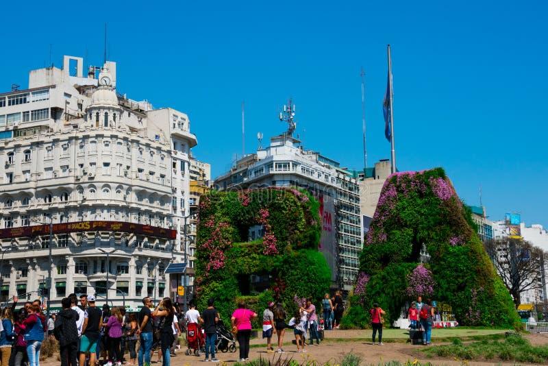 Vertical garden, BA characters at Republic Square Plaza de la Republica stock photo
