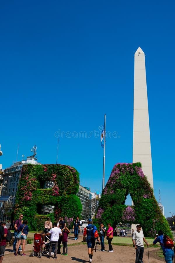Vertical garden, BA characters at Republic Square Plaza de la Republica stock images