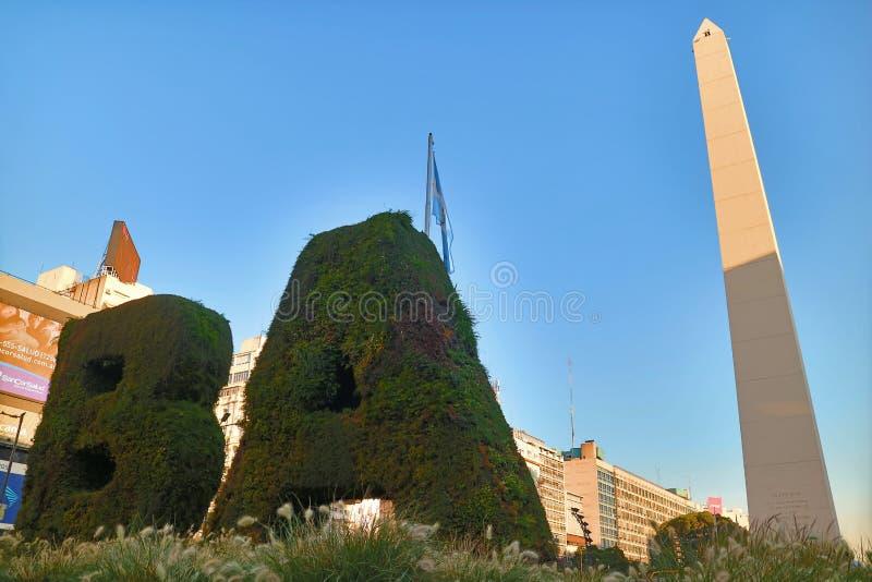 Vertical Garden BA and the Obelisco on the Plaza de la Republica Square, Buenos Aires, Argentina stock images