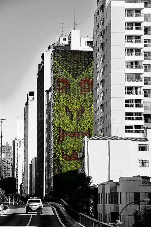 A vertical garden in the middle of the city. stock images