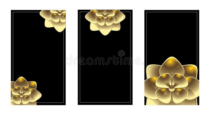 Vertical gold business card set royalty free illustration