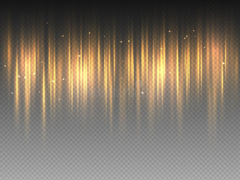Vertical golden yellow radiance glow pulsing rays on transparent background. Vector abstract illustration of hot orange Aurora. Borealis light effect. Shining royalty free illustration