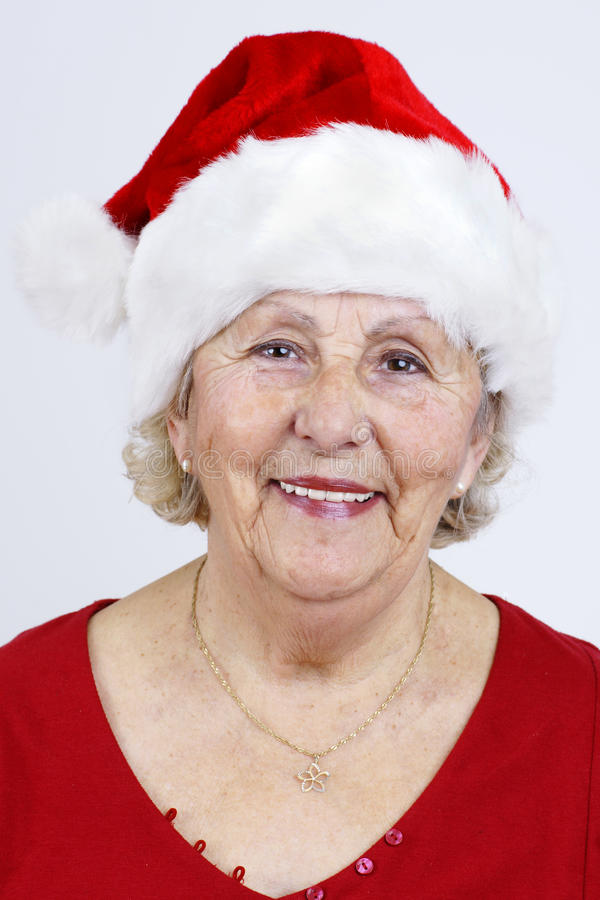 Download Vertical Of Grandma With Christmas Hat Stock Photo - Image: 22089682