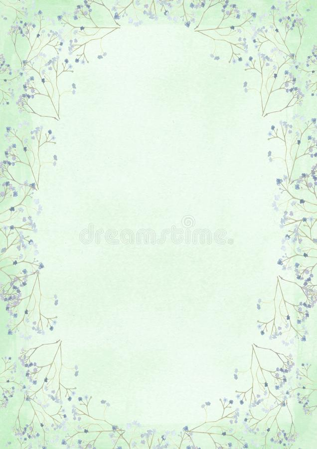 Green grunge retro style paper background with flower drawing bo stock illustration