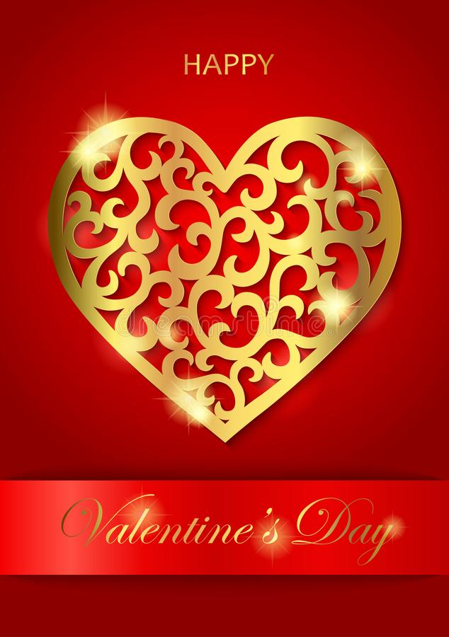 Vertical greeting Valentine`s Day card with golden heart royalty free illustration