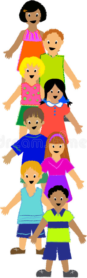 Vertical Group of Children. Illustration of a group of colorfully dressed, ethnically diverse children, drawn in rough crayon style. Other illustrations with stock illustration
