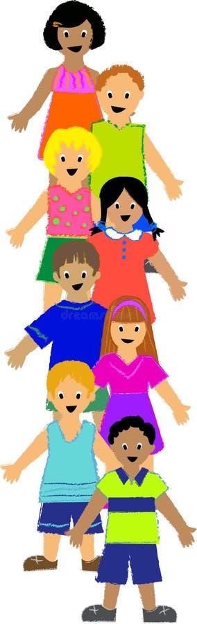 Vertical Group of Children stock illustration