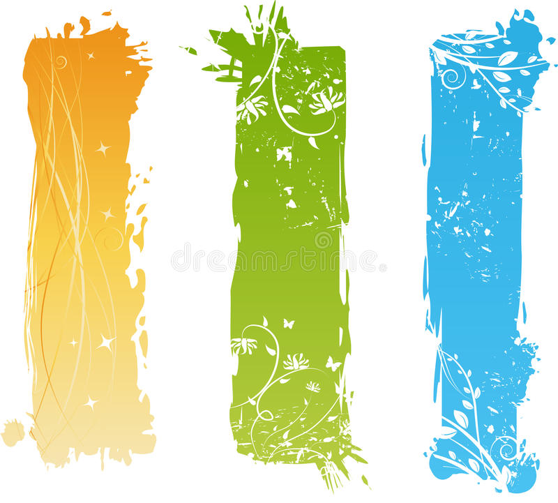 Download Vertical Grungy Banners With Floral Elements Stock Vector - Image: 10239508