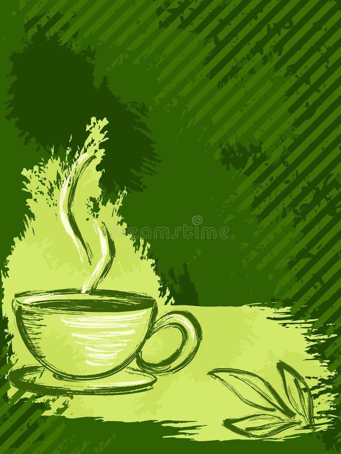 Vertical grungy green tea background stock illustration