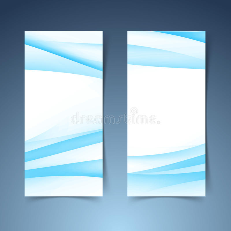 Vertical halftone gradient blue banner set. Abstract collection of swoosh soft line border layout. Vector illustration stock illustration