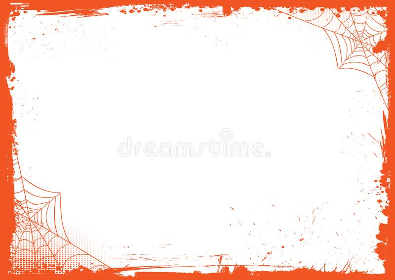 vertical Halloween banner background with grunge border and spider net vector illustration