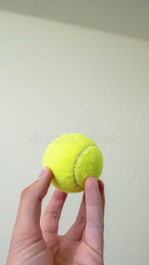 Vertical Hand holding a small ball isolated against a shiny white wall background royalty free stock photo