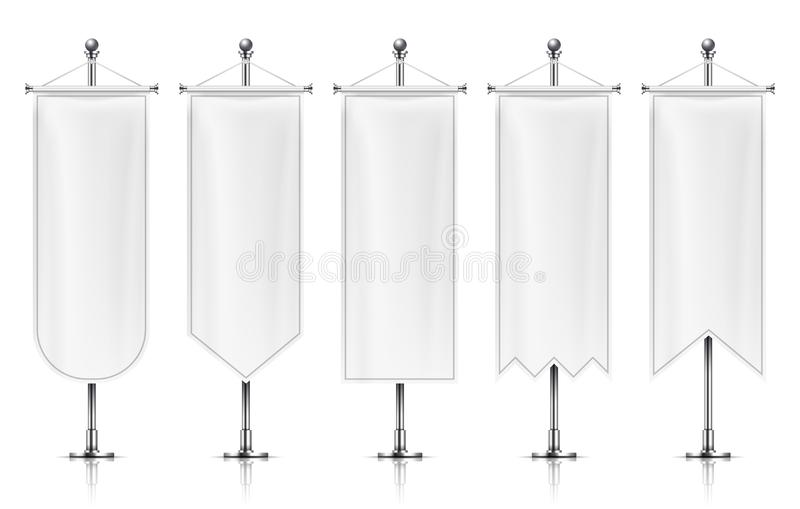 Vertical hanging banners. White empty flags on metal post. Fabric banner vector mockup isolated on white background vector illustration