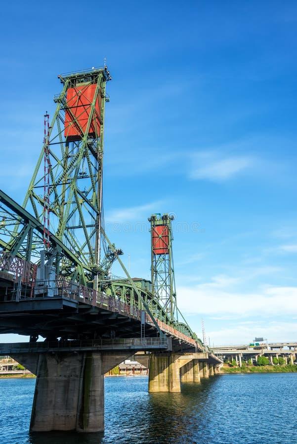 Vertical Hawthorne Bridge. Vertical view of the Hawthorne Bridge in downtown Portland, Oregon stock photo