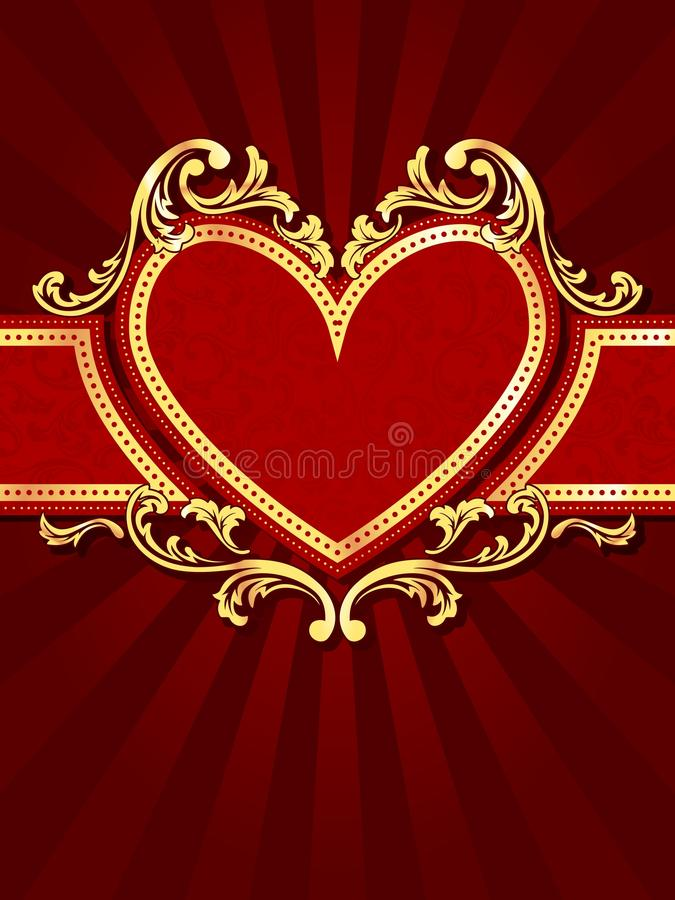 Vertical heart-shaped red banner with gold filig royalty free illustration
